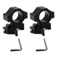 "2PCS 30mm/25mm 1"" Rings Rifle Scope Weaver Rings Mounts Quick Release Mounts BLK"