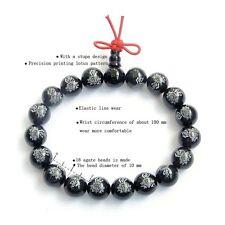 Buddha Word Lotus Black Agate Tibetan Buddhist Prayer Beads Mala Bracelet