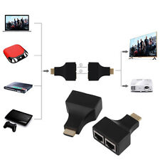 HDMI To Dual Port RJ45 Network Cable Extender Over by Cat 5e/6 1080p Black