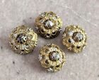 Antique Vintage Steel Cut Buttons 4 Round Silver & Gold Stamped Open Work Dome