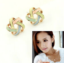 WOMEN Fashion Jewel Elegant Pair Gold Metal Colorful Twine Star Stud Earring hs0