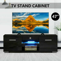 High Gloss TV Unit Cabinet Stand with LED Lights Shelves Home Furniture Balck US