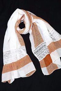 Super Soft Knit Ivory Burnt Orange Woven Lace Wrap Shawl Scarf B18