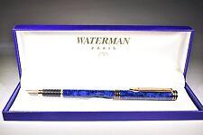 WATERMAN EXCLUSIVE BLUE & GOLD TRIM  FOUNTAIN PEN 18K GOLD X FINE PT  NEW IN BOX