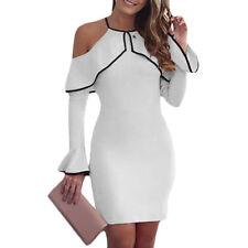 Women Bandage Bodycon Long Sleeve Evening Party Cocktail Club Short Mini Dress#Y