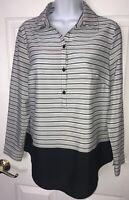 Chicos Stripe Block Devin L/S Top Shirt Size 0 (SMALL - 4) Blouse $99