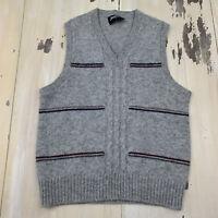 JANTZEN - Vtg Gray Wool/Acrylic Made In USA V-neck Sweater Vest, Mens MEDIUM