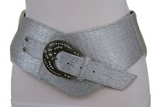 Women Wide Western Silver Fashion Belt Bling Gold Metal Buckle Plus Size XL XXL
