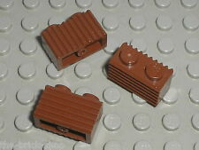 3 x LEGO RedBrown brick ref 2877 / set 6210 10194 7036 10144 7654 4754 7091 5980