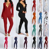 Women Pajamas Jumpsuit Pyjamas Buttons Sexy Bodysuit Nightwear Sleepwear Romper
