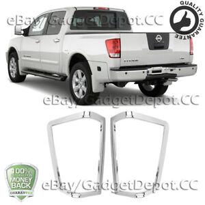 For 2004 -2014 Nissan Titan Chrome Rear Taillight Bezel Cover Frame Molding Trim