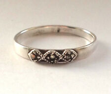 925 Sterling Silver Marcasite Ring 1960s Antique Hallmarked 11 L1/2 Thin Simple