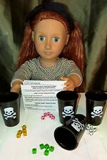 """Mini Pirate's Dice Game Liar's Dice Set 20 Dice, 4 Cups, Rules Fits Ag 18"""" Dolls"""