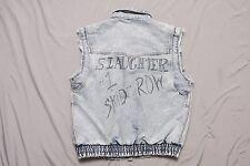 Vtg Slaughter Skid Row Heavy Metal Denim Jean Jacket Vest tri-blend glam rock