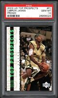 2003 Upper Deck Top Prospects #P1 LEBRON JAMES Promo PSA 10 GEM MINT