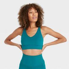 Women's Low Support Longline Bra - All in Motion Teal L, Blue