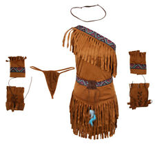Womens Suede American Indian Costume Princess Pocahontas Cosplay Outfit