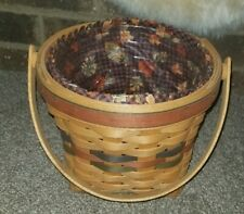 Longaberger 1996 Shades of Autumn Maple Basket Set Fabric Liner free Protector