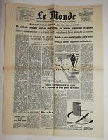 N760 La Une Du Journal Le Monde 22 mai 1967 violents combats israélienne arabes