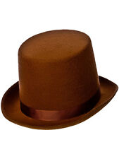 Brown Tall TOP HAT Adulti Mago Costume Vittoriano Lincoln Ringmaster 30V