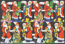 SANTA CHRISTMAS SCRAP PAPER EMBOSSED ENGLISH ORNAMENT  TOYS MUSICAL MACHE CARD