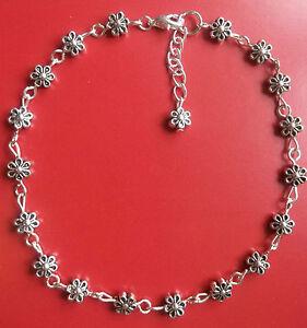 Antique silver tone flower daisy chain anklet ankle bracelet plus size handmade