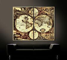 ALTE WELT ANTIKE Leinwand Bild Schwarz Braun Kunstdruck Weltkarte Worldmap XXL