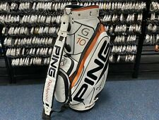 "RARE Professional PING GOLF G10 White & Orange 9.5"" STAFF BAG Carry Strap Used"