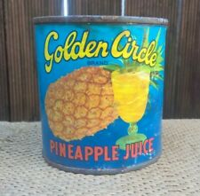 Vintage Golden Circle Pineapple Paper Label Tin Can - Australian 60s Milk Bar
