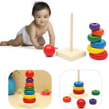 1pcs x Wooden Stack Up Play Toys Stacking Ring Tower Educational Baby Toys