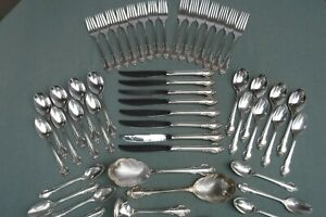 50pc Holmes & Edwards Fashion Silverplate Flatware for Crafts or Use