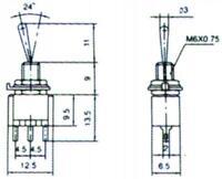 S064 - 10 Stück Miniatur - Kippschalter EIN/AUS/EIN 3-polig 1xUM Schalter