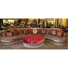 Wonderful Moroccan Sectional/Ottoman Sofa Baroque Damask Silk Fabric W/Assorted  Pillows