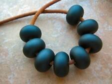 5FISH ~ Handmade Lampwork Murano Glass Set Spacer Beads ~ BLACK Matte Tuxedo