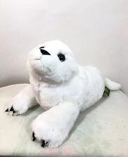 14� Long K&M Wild Republic White Harp Seal Pup Soft Stuffed Plush in Laying Pose