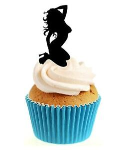 Novelty Sexy Adult Dancer 12 Edible Stand Up wafer paper cake toppers birthday