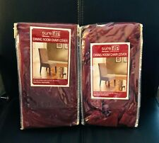 2 Sure Fit Dining Room Chair Cover Slipcovers, Soft Suede, Burgundy - New