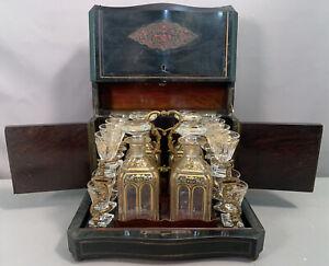 19thC Antique VICTORIAN Era TANTALUS SET Old LIQUOR DECANTER Bottles CHEST Box