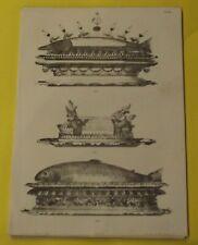 ANCIENNE GRAVURE XIX SOCLE A POISSON,PROFILE A GUIRLANDE DE FRUITS,ESTURGEON