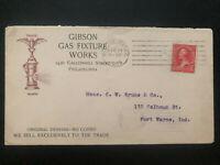 1895 Philadelphia PA USA Advertisng Cover To Fort Wayne Gibson Gas Fixture works