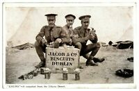 Antique printed military WW1 postcard Chums the Libyan Desert Jacob Co biscuits