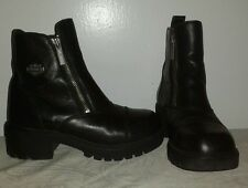 HARLEY-DAVIDSON WOMEN'S Black Leather double zipper ankle BOOTS SIZE 6.5