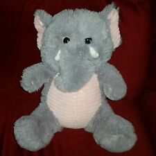 KellyToy ELEPHANT 14in Grey Soft Furry Plush Pink Ribbed Tummy & Inner Ears