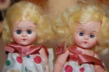 2 Vintage Antique 9 inch Unmarked Hard Plastic Dolls - 1950s Sleepy Eyes