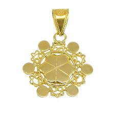 Pendente ciondolo lustrino a fiore filigrana in oro giallo realizzato a mano