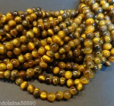 30 PERLES OEIL DE TIGRE PIERRE NATURELLE RONDE 4mm NATURAL TIGER EYE STONE BEADS