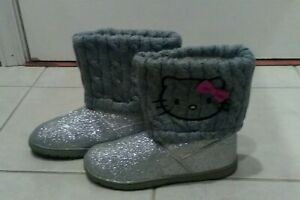 Hello Kitty Girls 4 Boots Silver Faux Fur Winter Fashion Boots