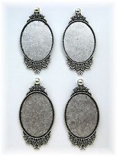 4 Ant. Silvertone Rose style 40mm x 30mm CAMEO Costume PENDANTS Frames Settings