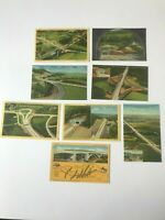 Lot of 8 Postcards Pennsylvania Turnpike Assorted Views Tunnels Interchange 1940