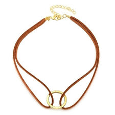 Trend braune Chokerkette Halsband schlicht Gold Leder braun Dirndl Gothic Choker